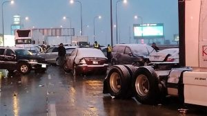 multi-car and truck pileup on the highway